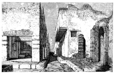 19th century engraving of streets of Pompeii, italy