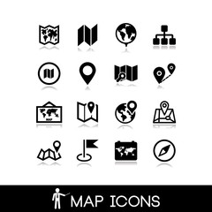 Maps and pins icons set 1