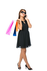 Asian Shopping Bags Dress Sunglasses Phone Away