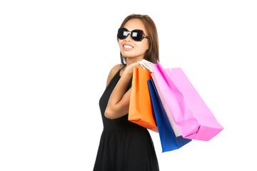 Asian Shopping Bags Flung Over Shoulder Look Away