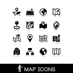 Maps and pins icons set 2
