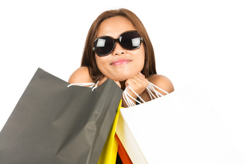 Asian Woman Embracing Shopping Bags Close up H