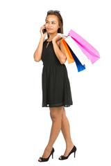 Asian Woman Shopping Talking Mobile Phone Full V