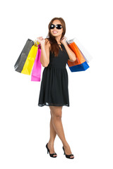Elegant Shopper Bags Over Shoulders Full Front