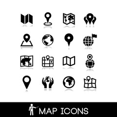 Maps and pins icons set 3