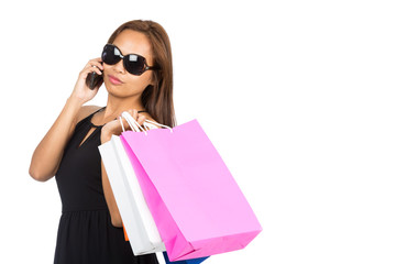 Sunglasses Asian Woman Shopping Bags Phone Half H