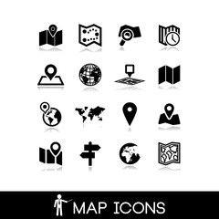 Maps and pins icons set 4