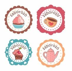 Etiquetas, desenho cupcake, xícara, bolo e bule