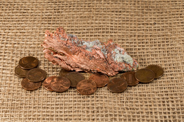 Native Copper Nugget with Copper Pennies