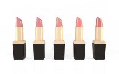 Set of lipsticks isolated on white background