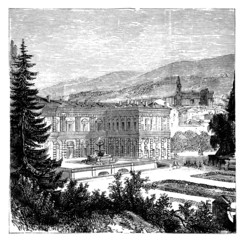 19th century engraving of Palazzo Pitti, Florence, Italy