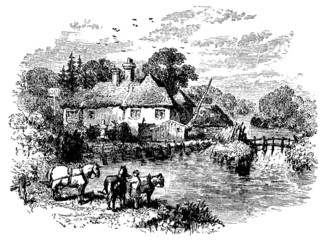 19th century engraving of Pangbourne, Berkshire, UK