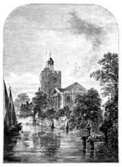 19th century engraving of St. Marys Church, Twickenham, London,