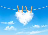 Heart shaped cloud on rope. Nature beautiful background. Vector poster