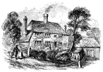 19th century engraving of a village house, Midhurst, West Sussex