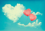 Retro Holiday background with heart shaped cloud on blue sky and poster