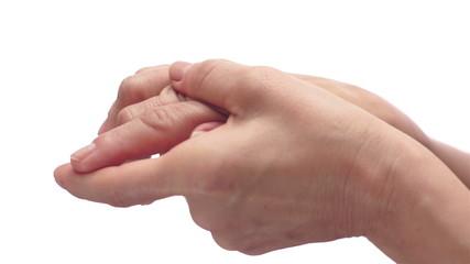 Woman Rubbing Her Painful Arthritis Hand