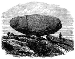 19th century engraving of an ancient dolmen, UK