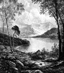 19th century engraving of Derwentwater, Lake District, UK