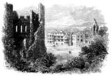 19th century engraving og Dudley Castle, West Midlands, UK poster