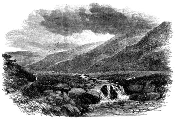 19th century engraving of a Yorkshire moor, UK