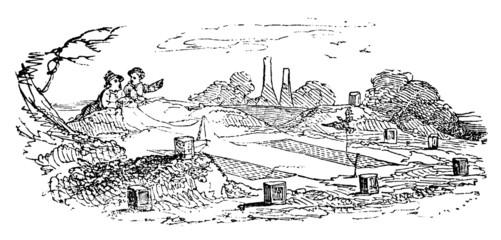 19th century engraving of a farm scene