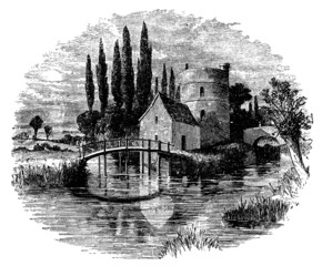 19th century engraving of River Thames near Lechlade, UK