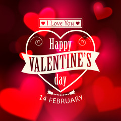 Happy Valentine's day  glow holiday background with shining soft
