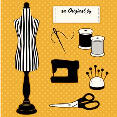 Fashion model mannequin, DIY sewing, tailoring, label, polka dot