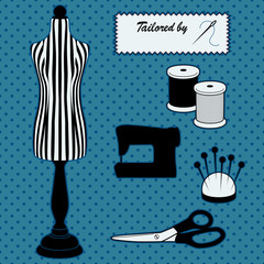 Fashion model mannequin, polka dots, DIY sewing, tailored label