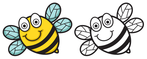 Illustration of isolated colorful and black and white bee for co