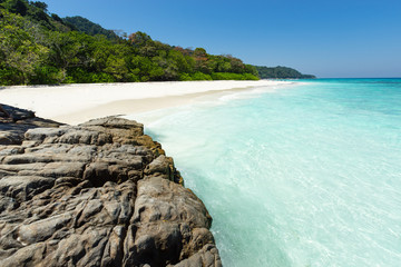 Tropical white sand beach paradise of Koh Tachai, Thailand