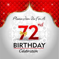 celebrating 72 years birthday, Golden red royal background