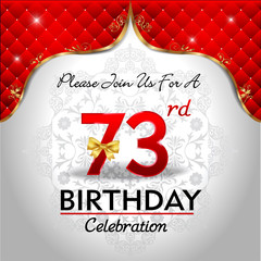 celebrating 73 years birthday, Golden red royal background