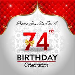 celebrating 74 years birthday, Golden red royal background