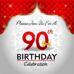 celebrating 90 years birthday, Golden red royal background