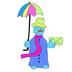 snowman with an umbrella and a letter