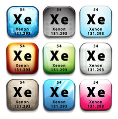 A button showing the chemical element Xenon
