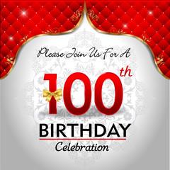celebrating 100 years birthday, Golden red royal background