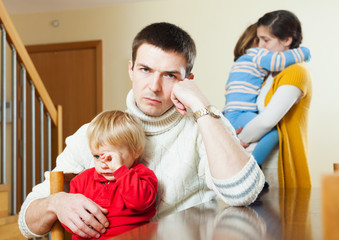Family with children after quarrel