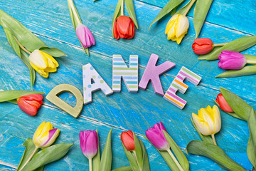 Danke Buchstaben Karte Tulpen