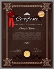 Vintage certificate template with detailed border in vector
