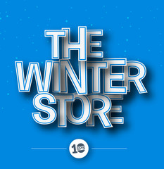 The Winter Store Text made of 3d vector design element.