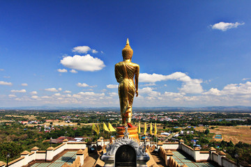 Buddha Statue facing the town on the top of mountain