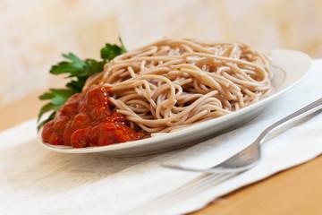 buckwheatspaghetti pasta with tomato catchup