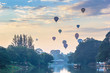 Balloon floating to sky with foreground ping river in the mornin - 77122920