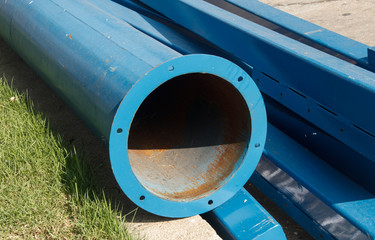 pipe on construction site ready for use.