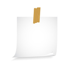 sheet of paper on an adhesive tape