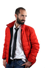 Man with red jacket
