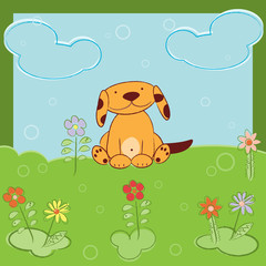 Greeting card with cute dog